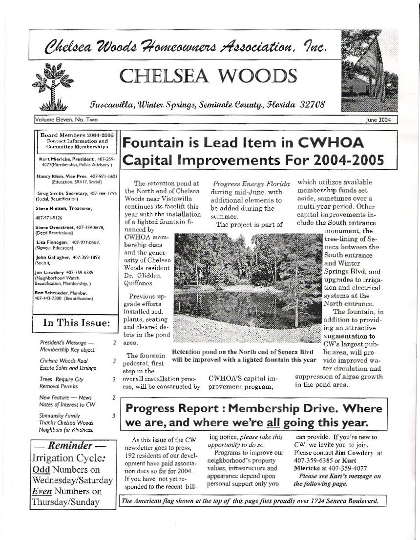 Chelsea Woods of Tuscawilla Homeowners Association, Inc